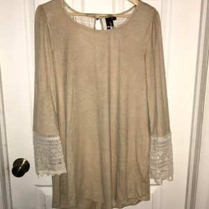 Tan and lace mini dress with small bell sleeves
